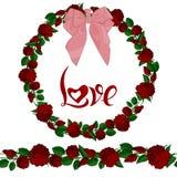 Naadloze borstel en kroon van rode rozen met het van letters voorzien vector illustratie