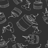 Naadloze cakedruk met kersen op grijze achtergrond vector illustratie