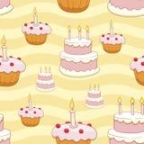Naadloze cakes vectorachtergrond Stock Fotografie