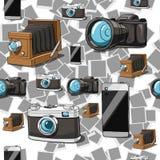 Naadloze camera vectorachtergrond Stock Afbeelding