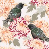 Naadloze chrysant en vogels stock illustratie
