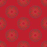 Naadloze Cirkel Dots Red Background Abstract Pattern 1 Stock Afbeelding
