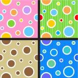 Naadloze cirkels en puntenpatronen Stock Foto's