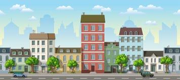 Naadloze cityscape beeldverhaalachtergrond Stock Foto
