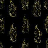 Naadloze contouren van brand Stock Foto's