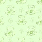Naadloze contouren van hoeden en klavers Royalty-vrije Stock Afbeeldingen