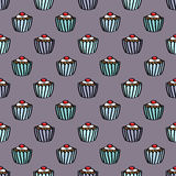 Naadloze Cupcake-Achtergrond Royalty-vrije Stock Fotografie