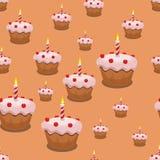 Naadloze Cupcake-Achtergrond Stock Foto