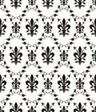 Naadloze damast koninklijke textuur met fleur-DE-lis Stock Afbeelding