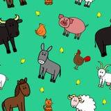 Naadloze de dierenachtergrond van het patroonlandbouwbedrijf Royalty-vrije Stock Fotografie