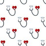 Naadloze de Gezondheidszorg van het stethoscoophart stock illustratie