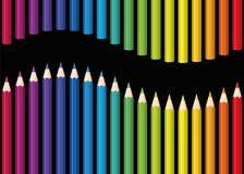 Naadloze de Golfzwarte van regenboogkleurpotloden Royalty-vrije Stock Afbeeldingen
