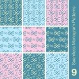9 naadloze de heemstkleuren van monogrampatronen Stock Fotografie