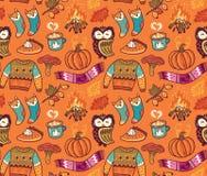 Naadloze de herfstachtergrond met pompoen, uil, trui, vuur en andere Stock Fotografie