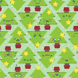 Naadloze de Kerstboomachtergrond van Beeldverhaalkawaii Royalty-vrije Stock Fotografie