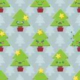 Naadloze de Kerstboomachtergrond van Beeldverhaalkawaii Stock Foto's