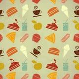 Naadloze de kleurenachtergrond van het voedsel Stock Fotografie