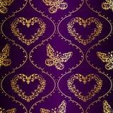 Naadloze de lenteachtergrond in goud en purple Stock Afbeeldingen