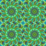 Naadloze de oker groene turkooise blauwe grijs van het cirkelspatroon Stock Afbeeldingen