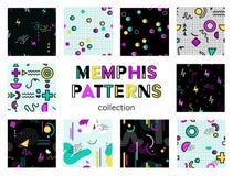 Naadloze de patroneninzameling van Memphis royalty-vrije illustratie