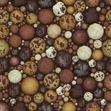 Naadloze de Textuurachtergrond van chocoladekoekjes Stock Afbeelding