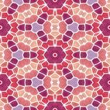 Naadloze de textuurachtergrond van de mozaïekcaleidoscoop - aardbei rood, purper, violet, roze en oranje met witte pleister Royalty-vrije Stock Fotografie