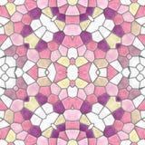 Naadloze de textuurachtergrond van de mozaïekcaleidoscoop - leuke roze, purper, violet en het wit kleurde met grijze pleister Royalty-vrije Stock Afbeeldingen