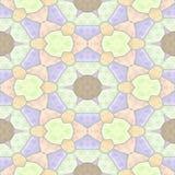 Naadloze de textuurachtergrond van de mozaïekcaleidoscoop - lichte pastelkleur kleurde met grijze pleister - purpere sinaasappel, Royalty-vrije Stock Foto's