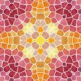 Naadloze de textuurachtergrond van de mozaïekcaleidoscoop - trillende sinaasappel, geel, rood, roze gekleurd met witte pleister Stock Foto