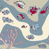Naadloze de vissengolf van het patroonaquarium Royalty-vrije Stock Afbeelding