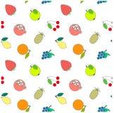 Naadloze de voorraad vectorillustratie van het fruitpatroon Moderne vlakke ontwerp rode aardbei, gele citroen, appel, ananas Royalty-vrije Stock Afbeeldingen