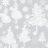 Naadloze de winterachtergrond met pijnboom en sneeuw Royalty-vrije Stock Afbeeldingen