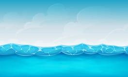 Naadloze de Zomer Oceaanachtergrond voor Ui-Spel Stock Foto