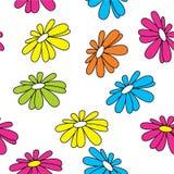 Naadloze de zomerachtergrond Heldere kleuren Gekleurde madeliefjes Hawaiiaanse installaties Stock Foto's