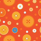 Naadloze decoratieve achtergrond met cirkels, knopen en stippen Royalty-vrije Illustratie