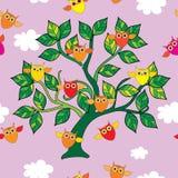 Naadloze decoratieve achtergrond met uilen Stock Illustratie