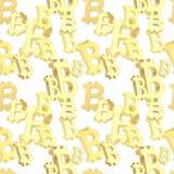 Naadloze die achtergrond van bitcointekens wordt gemaakt Stock Foto