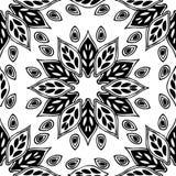 Naadloze die achtergrond van exotisch patroon in zwart-witte mede wordt gemaakt Stock Afbeeldingen