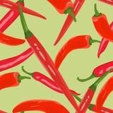 Naadloze die achtergrond van hete peper wordt gemaakt stock illustratie