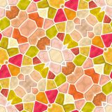 Naadloze die de textuurachtergrond van de mozaïekcaleidoscoop - vibratn rood, roze, perzik, geel, oranje en groen met witte gr. w Stock Afbeeldingen