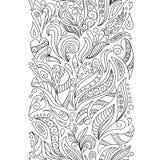 Naadloze die grenzen in krabbelstijl worden geplaatst Bloemen, overladen, decoratief, stammen Royalty-vrije Stock Afbeeldingen