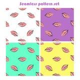 Naadloze die patronen met roze lippen worden geplaatst vector illustratie
