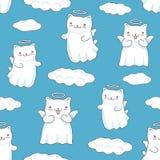Naadloze die patroonachtergrond met wolken, beeldverhaalkatten als kleine engelen met vleugels en halo in Japanse kawaii worden v stock illustratie