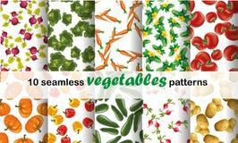 Naadloze die patrooninzameling met gekleurde groenten wordt geplaatst Vector illustratie voor uw zoet water design royalty-vrije illustratie