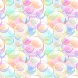 Naadloze die patroontextuur van zeepbels wordt gemaakt Stock Foto