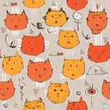 Naadloze die textuur met de kattengezichten van de inktgember wordt gemaakt Royalty-vrije Stock Afbeelding