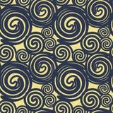 Naadloze die textuur op donkerblauwe lijnenspiralen wordt gebaseerd die voorbij imiteren stock illustratie