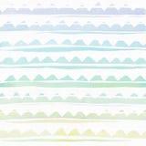 Naadloze die waterverf het brandmerken textuur, op getande regenboog hand-drawn strepen wordt gebaseerd Eenvoudig, ruw De rooster Stock Afbeelding