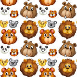 Naadloze dierlijke hoofden Stock Afbeeldingen