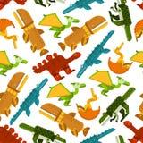 Naadloze dinosaurussen en voorhistorisch dierenpatroon Stock Afbeelding